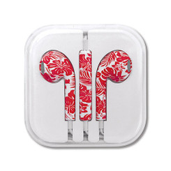 Hawaiian Style Ear Buds Hibicus Floral Red