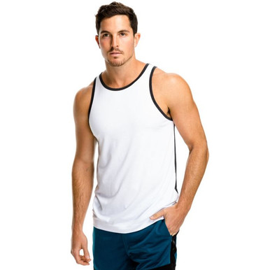 Teamm8 Activewear Halfback Athletic Tank White Charcoal (TC-HLFT-WHITE)