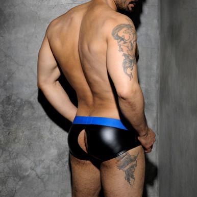 Addicted Underwear Fetish Rubber Open-Back Brief Blue (ADF52-16)