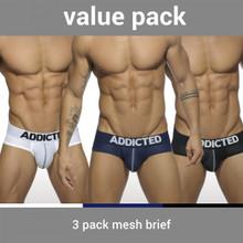 Addicted Underwear 3-Pack Mesh Push Up Briefs (AD475P-3COL)