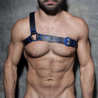 Addicted Fetish Gladiator Genuine Leather Harness Royal Blue ADF38