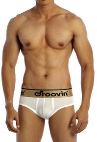 Groovin' Underwear Bold-Line Sports Jock White Front View