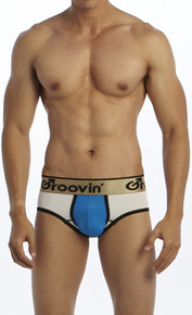 Groovin' Underwear Bold-Line Sports Jock White-Blue