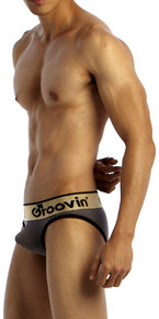 Groovin' Underwear Bold-Line Push-Up Brief Grey Side View