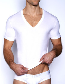 C-IN2 Core Deep V-Neck Pima Tee White