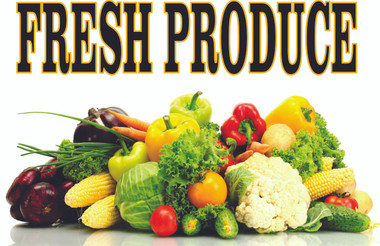 Extremely Colorful Fresh Produce Highly Noticeable Banner!