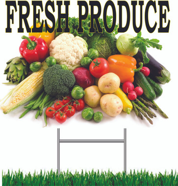 Fresh Produce 18in x 24in Yard Sign