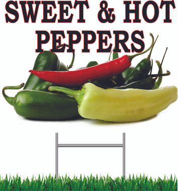 Sweet & Hot Peppers Nice & Colorful Sign.