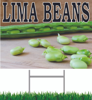 Lima Beans Yard Sign Bright Colorful Sign.