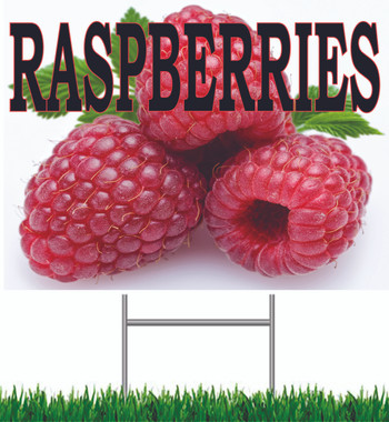 Raspberries Yard Sign Very Colorful Noticeable Sign.
