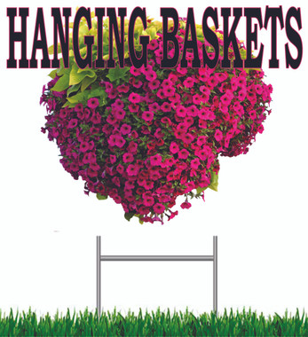 Hanging Basket Yard Sign, Very Colorful Get Noticed!