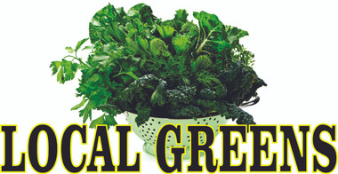 Local Greens banner informs customers they are in season.