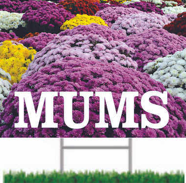 Mums Road Sign Very Colorful Helps Draw Customer In.