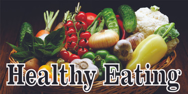 Healthy Eating a Very Colorful & Noticea.ble Banner