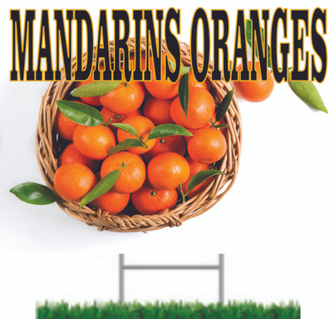 Colorful Mandarins Very  Noticeable Road Sign.