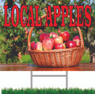 Local Apples Road Sign Let Customers Know You Offer Local Fruit.