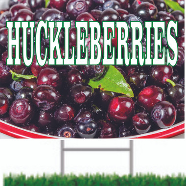 Fruit Road Sign Showing Huckleberries from Stop The Traffic.