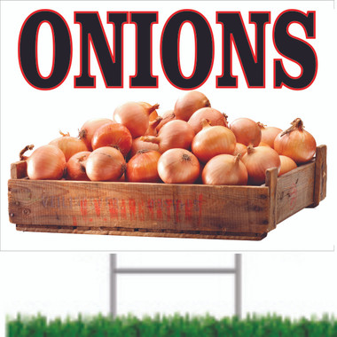 Onions Road Sign Invites Customer to Stop In.