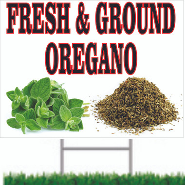 Fresh & Ground Oregano Two-Sided Road Sign VY 509