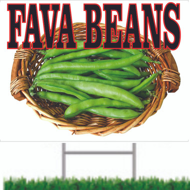 Fava Beans Road Signs Inform Customer they are In Season.