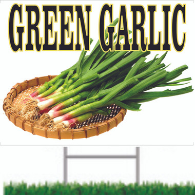 Green Garlic Road Sign In Living COlor Gets Noticed.