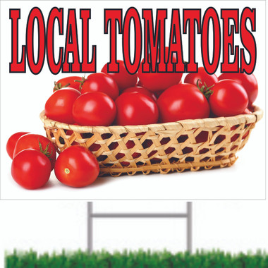 Very Colorful Local Tomatoes Sign that Get Noticed.