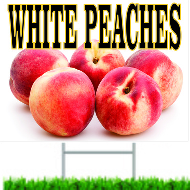 white Peaches Road Sign Will  Get Noticed.