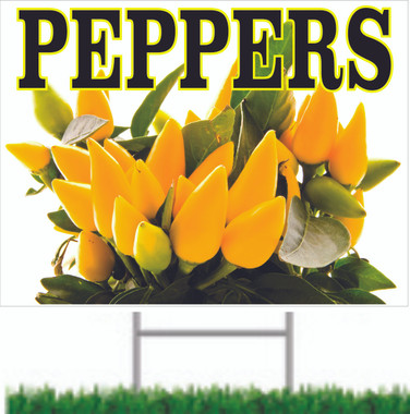 Beautiful yellow peppers road sign by stop the traffic.
