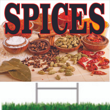 Very Colorful Spices Yard/Road Sign fCustomers Will Take Notice.