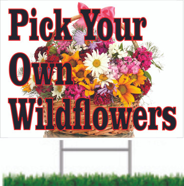 Colorful & Inviteing Wildflower Yard Sign.