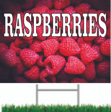 Raspberries Yard Sign invites traffic to stop in.