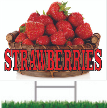 Strawberries Road Sign Helps Get Customers to Stop & Shop.