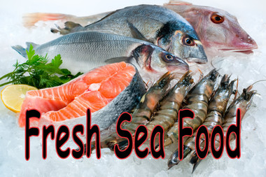 Fresh Seafood on Ice Banner in full color.