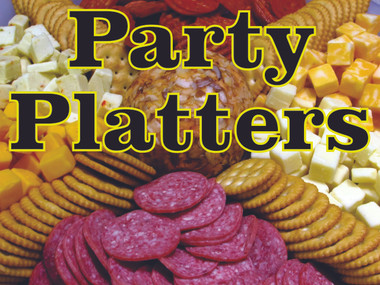 Party Platters Banner lets Customers Know You Offer Deli Platters.