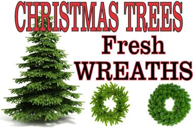 Banner Christmas Trees Fresh Wreaths .