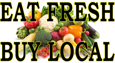 Eat Fresh Buy Local Banner Lets Customers Know it's Fresh In Full Color. Bring In Customers.