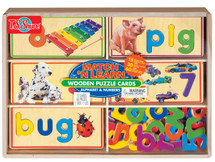Match 'N Learn Wooden Puzzle Cards - Alphabet & Numbers   T.S. Shure