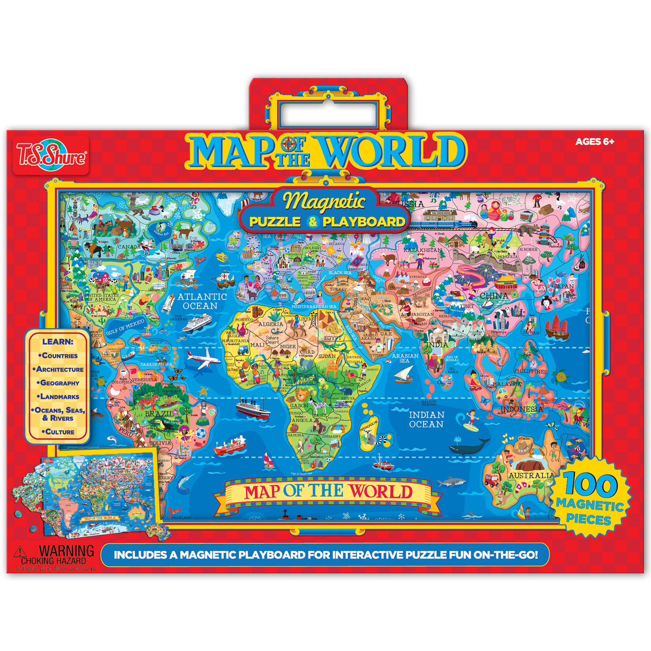 Wooden Magnetic Map Of The World Puzzle TS Shure - Us states map puzzle game