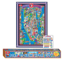 Pictorial Map of New York City - Laminated Poster with Stickers | T.S. Shure