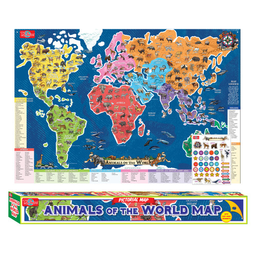 Animals of the world map pictorial poster ts shure gumiabroncs Image collections