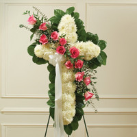Pink & White Standing Cross with Pink Rose Break