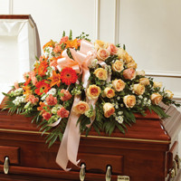 Peach, Orange & White Mixed Haslf Casket Cover
