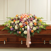 Multicolor Pastel Mixed Flower Full Casket Cover