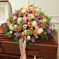 Multicolor Pastel Mixed Flower Half Casket Cover