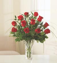 One Dozen Red Roses in Crystal Vase