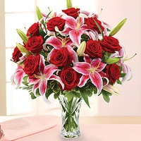 Dozen Rose & Lily Bouquet