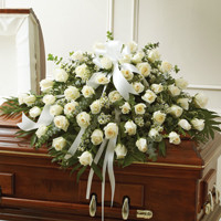 White Roses Half Casket Cover