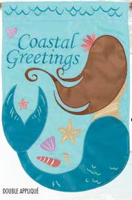 Garden Flag Applique Mermaid Coastal Greetings