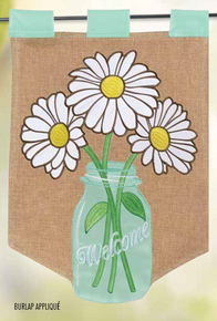 Garden Flag Burlap Welcome Flower Jar