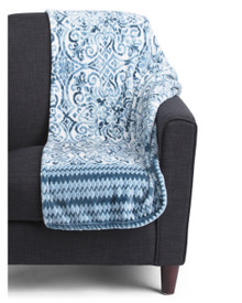 Plush Throw Oversized Blue Design